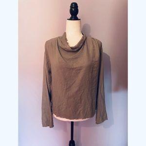 Anthropologie Bella Dahl Grey cowl neck blouse